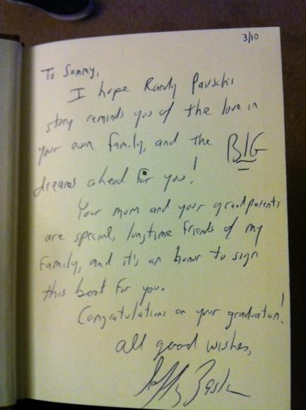 Jeff's inscription on Sammy's book (March 2010) - Copy
